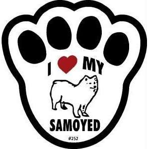 I Love My Samoyed Dog Pawprint Window Decal w/Suction Cup