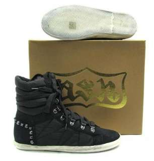 NEW $275 ASH MENS BLACK HIGH TOP LACE UP STUDDED SNEAKER