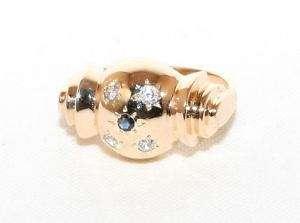 Estate 14K Sol Gold .21ct Sapphire & Diamond Dome Ring