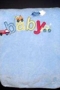 JUST BORN soft FLEECE blue baby blanket firetruck car
