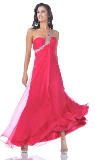 RHINESTONE ONE SHOULDER EMPIRE WAIST PROM DRESS ELEGANT*