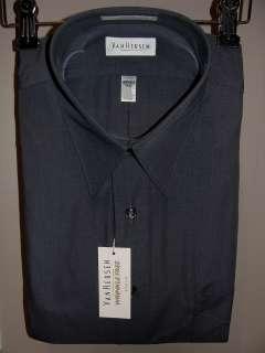 MENS VAN HEUSEN BLACK POPLIN DRESS SHIRT W/ POINT COLLAR/REG FIT NEW