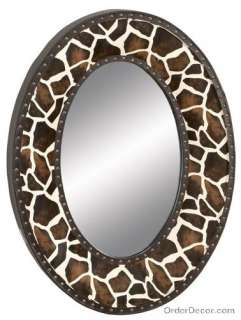 35 Giraffe Oval Wall Mirror, Animal Print Decor, Large