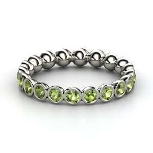 Pod Eternity Band, 14K White Gold Ring with Green