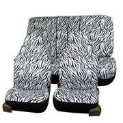 Zebra Seat Covers With Split PINK/WHITE