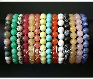 Big Wholesale 100 Round GEMSTONE Bead Stretch Bracelets