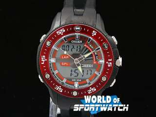 NEW OHSEN RED DUAL TIME MENS BLACK BAND SPORT WATCHES