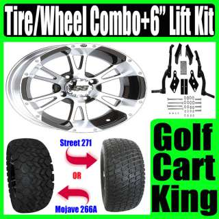 12 Wheel and Tire Combo + Club Car Golf Cart Lift Kit
