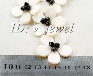 Black onyx&shell flower necklace/earring set 925
