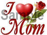 LOVE (HEART) MOM w RED ROSE Italian Charm mother