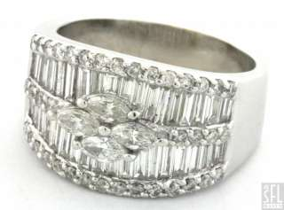 18K WHITE GOLD EXQUISITE 3.15CT VS/F DIAMOND CLUSTER COCKTAIL RING