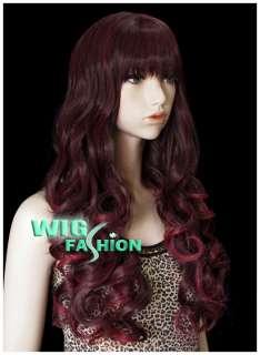 Long Curly Burgundy Hair Wig CU02