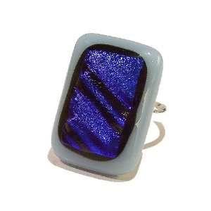 The Black Cat Jewellery Store Powder Blue & Dark Blue Dichroic Glass