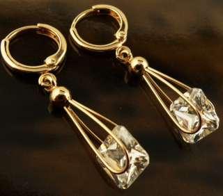 Ladys Dangle White Topaz Gems Earring ME42 14k Rose Gold Filled