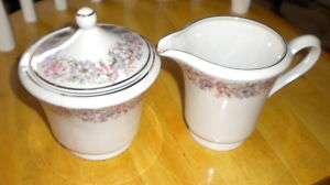 Cmielow Poland Pink & Purple Flower Sugar Bowl/Creamer