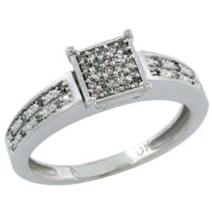 10k White Gold Diamond Engagement Ring w/ 0.145 Carat Brilliant Cut