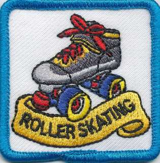 Girl Boy Cub ROLLER SKATING WHITE Fun Patches Crests Badges SCOUTS