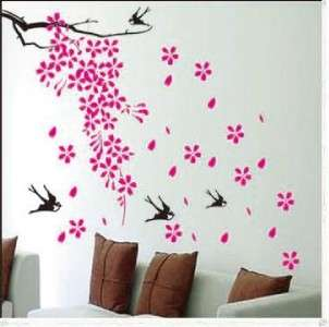 PINK FLOWER TREE & BIRDS Removable Wall Stickers Decal