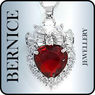 18k white gold plated stone color red ruby stone cut heart stone
