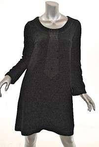 SONIA RYKIEL Black Velour Dress/Tunic Necktie w/Crystals A Line SM