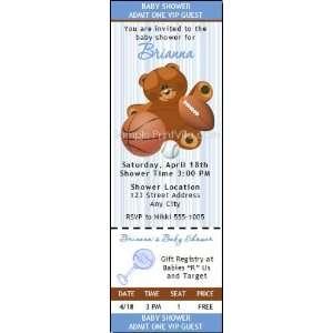 Sports Teddy Bear Baby Shower Ticket Invitation
