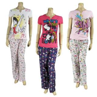 Disney Cotton 2pc PJ Pants T Shirt Love Minnie Mouse Betty Boop Heart