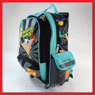 16 Disney Phineas and Ferb Roller Backpack Rolling Bag
