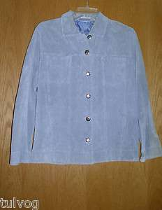Chicos Design Light Blue Suede Leather Jacket, Size 1