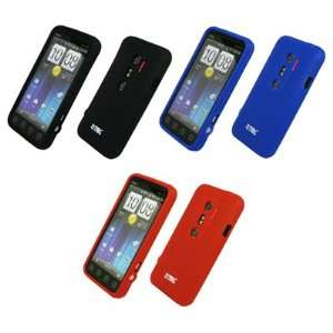 Skin Case Covers (Black, Blue, Red) for Sprint HTC EVO 3D Electronics