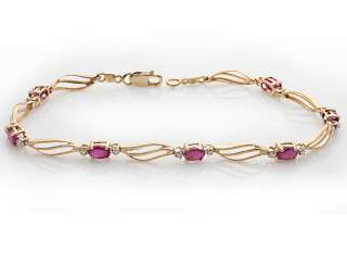 78 ct Natural Ruby & Diamond Unique Bracelet Solid Yellow Gold