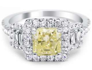 85 ct Radiant Cut Fancy Yellow Custom Diamond Engagement Ring 14k