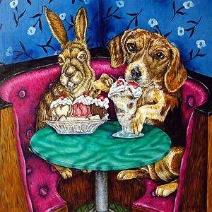 Bunny & Beagle at the ice cream picture parlor art tile coaster gift