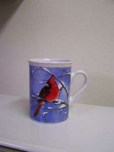 Blue Winter Scene Red Bird Cardinal Coffee Mug 8 oz