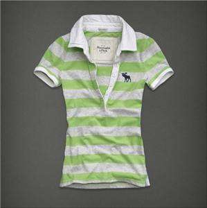 Authentic NWT Abercrombie & Fitch Women Tessa Polo Tee T Shirt Green