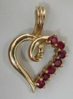 Natural Ruby 14K Gold HEART Pearl Enhancer Pendant 1.4g