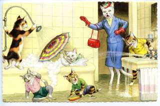 Dressed Cats Kitties Bathroom Water Play Tub Bubbles Mainzer Cat