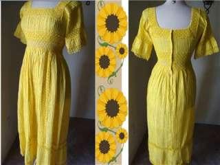 Wedding dress yellow maxi pin tuck crochet lace bell sleeves boho sm