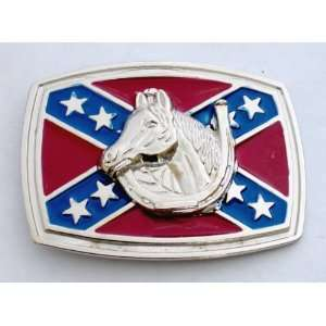Confederate Rebel Csa Stars Southern Flag Horseshoe Horse Head 3d Belt