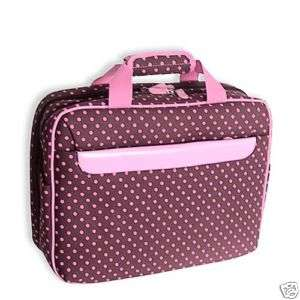 BROWN Pink Polka Dot padded Laptop Case Briefcase Bag