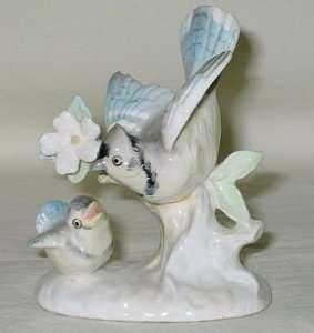 Vintage Japan Ceramic Blue Jay Figurine