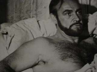 Sean Connery shirtless and bearded in bed (SH10)