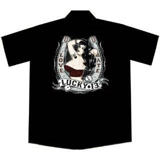 Queen of Diamonds Pinup Girl Las Vegas Casino Work Shirt