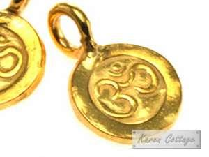 Karen Hill Tribe Silver  Gold vermeil OM Printed Flat Charm ,9mm
