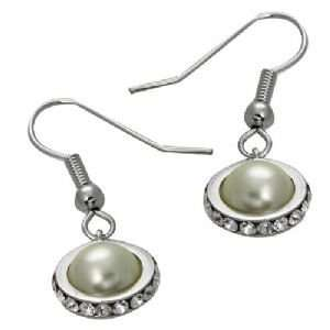 GOLD PLATED PEARL GENUINE SWAROVSKI CRYSTAL EARRINGS