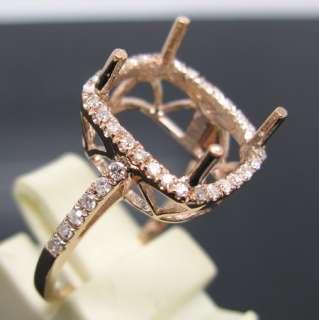 CUSHION SOLID 14K GOLD DIAMOND SEMI MOUNT SETTING RING