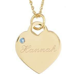 March Engraved Birthstone Heart Charm Pendant   Personalized Jewelry