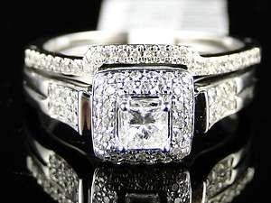 14K WOMENS WHITE GOLD DIAMOND PRINCESS ENGAGEMENT WEDDING RING BAND