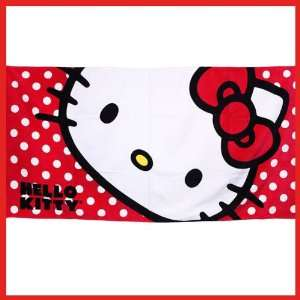 Official Hello Kitty Sanrio Beach Towel Polka Dots 100% Cotton + FREE