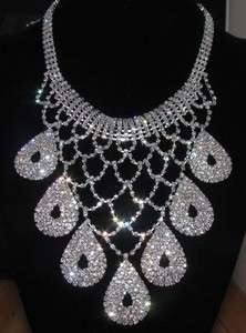 Factory Outlet Price 1SET Bridal Drag Queen Clear Rhinestone Necklace