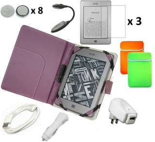 Leather Case Cover Charger Bundle for Kindle Touch 3G WiFi
